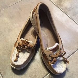 Soft Sperry  tan/beige Leather and fabric flats